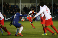 Amilcar Silva of AS Monaco hits a free-kick towards the Chelsea goal during Chelsea Under-19 vs AS Monaco Under-19, UEFA Youth League Football at the Cobham Training Ground on 19th February 2019