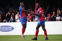 Liam Gordon (L) and Shamir Mullings of Dagenham and Redbridge celebrate after an own goal makes the score 1-1 during Dagenham & Redbridge vs Wrexham, Vanarama National League Football at the Chigwell Construction Stadium on 13th October 2018