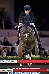 Meimei Zhu of China riding Charmeur 413 competes in the Masters One DBS during the Longines Masters of Hong Kong at AsiaWorld-Expo on 11 February 2018, in Hong Kong, Hong Kong. Photo by Ian Walton / Power Sport Images