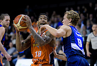Kyle Adnam (Giants, right) marks Orlando Coleman (Sharks) during the national basketball league semifinal match between Nelson Giants and Southland Sharks at TSB Bank Arena in Wellington, New Zealand on Saturday, 4 August 2018. Photo: Dave Lintott / lintottphoto.co.nz