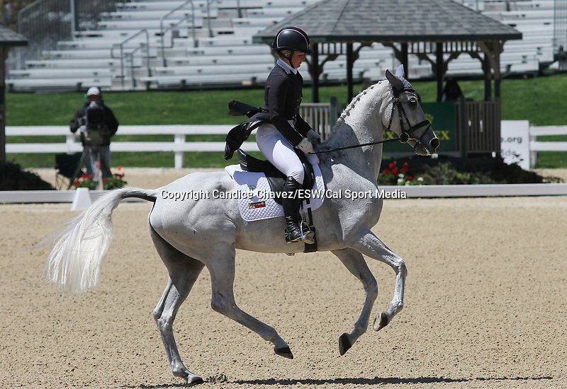 April 23, 2015:  #21 Catch A Star and Caitlin Silliman   competing on the first day of Dressage at the Rolex Three Day Event at the Kentucky Horse Park in Lexington, KY.  Candice Chavez/ESW/CSM