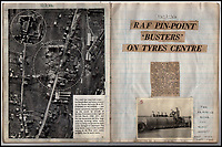 BNPS.co.uk (01202 558833)<br /> Pic: IAA/BNPS<br /> <br /> Sumpters scrapbook contains news reports of 617's exploits with Barnes Wallis's huge Tallboy bombs.<br /> <br /> A fascinating and historic logbook and photographs from a Dambuster's hero who also went on many other famous raids during WW2 has come light. <br /> <br /> The remarkable collection belonged to Flight Sergeant Leonard Sumpter who was a bomb aimer on the iconic Dam's mission, and put together a unique scrapbook of his thrilling wartime career in Bomber Command's most famous squadron.<br /> <br /> As well as the bouncing bomb sortie, the ace bomb aimer also dropped Barnes Wallis's later invention's of massive Tallboy and Grand Slam 'bunker busting' bombs, the largest non nuclear warheads of the war.<br /> <br /> Only the elite 617 squadron were entrusted with delivering these hugely valuable weapons onto their vital targets, that included U-boat pens, V2 rocket sites and even Hitler's Bavarian hideaway the Eagles Nest.<br /> <br /> Also included are pictures Mr Sumpter took in 1947 during a summer excusion to visit some of the sites he had attacked during the conflict.<br /> <br /> Flt Sgt Sumpter's daughter has decided to put the photo album up for auction together with his logbook and his personal scrapbook.