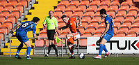 Blackpool's Jordan Thompson battles with Rochdale's Jordan Williams (left) and Sam Hart (right) <br /> <br /> Photographer Stephen White/CameraSport<br /> <br /> The EFL Sky Bet League One - Blackpool v Rochdale - Saturday 6th October 2018 - Bloomfield Road - Blackpool<br /> <br /> World Copyright © 2018 CameraSport. All rights reserved. 43 Linden Ave. Countesthorpe. Leicester. England. LE8 5PG - Tel: +44 (0) 116 277 4147 - admin@camerasport.com - www.camerasport.com