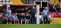 Sheffield Wednesday's manager Steve Bruce and Sheffield Wednesday's coach Steve Agnew, right, watch on from their technical area<br /> <br /> Photographer Chris Vaughan/CameraSport<br /> <br /> Football Pre-Season Friendly - Lincoln City v Sheffield Wednesday - Saturday July 13th 2019 - Sincil Bank - Lincoln<br /> <br /> World Copyright © 2019 CameraSport. All rights reserved. 43 Linden Ave. Countesthorpe. Leicester. England. LE8 5PG - Tel: +44 (0) 116 277 4147 - admin@camerasport.com - www.camerasport.com