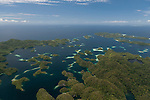 Aerial of Raja Ampat's islands, sand cays and lagoons
