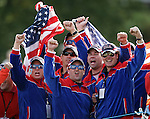 NEWPORT, WALES - OCTOBER 2: Fans of Team USA cheer during the 2010 Ryder Cup at the Celtic Manor Resort on October 2, 2010 in Newport, Wales. (Photo by Donald Miralle)