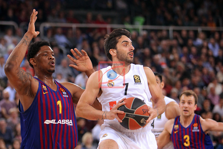 Turkish Airlines Euroleague 2018/2019. <br /> Regular Season-Round 24.<br /> FC Barcelona Lassa vs R. Madrid: 77-70. <br /> Kevin Seraphin vs Facundo Campazzo.