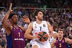 Turkish Airlines Euroleague 2018/2019. <br /> Regular Season-Round 24.<br /> FC Barcelona Lassa vs R. Madrid: 77-70. <br /> Kevin Seraphin vs Facundo Campazzo.