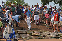Tommy Fleetwood (ENG) discusses his ball position with a rules official on 11 during 4th round of the 100th PGA Championship at Bellerive Country Club, St. Louis, Missouri. 8/12/2018.<br /> Picture: Golffile   Ken Murray<br /> <br /> All photo usage must carry mandatory copyright credit (© Golffile   Ken Murray)
