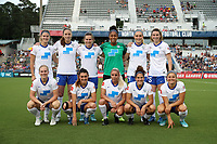 Cary, North Carolina  - Saturday June 17, 2017: Boston Breakers starters. Front row (from left): Natasha Dowie, Brooke Elby, Adriana Leon, Angela Salem, Rosie White; back row (from left): Christen Westphal, Julie King, Emilie Haavi, Abby Smith, Megan Oyster, and Morgan Andrews prior to a regular season National Women's Soccer League (NWSL) match between the North Carolina Courage and the Boston Breakers at Sahlen's Stadium at WakeMed Soccer Park. The Courage won the game 3-1.