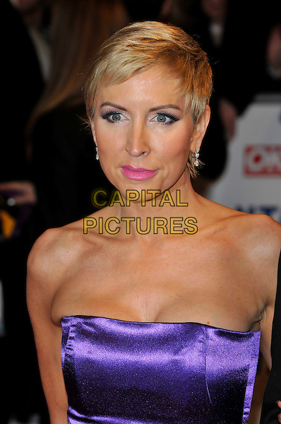 HEATHER MILLS .The 15th National Television Awards held at the O2 Arena, London, England..January 20th, 2010.NTA NTAs headshot portrait purple silk satin strapless short cropped hair pink lipstick .CAP/PL.©Phil Loftus/Capital Pictures.