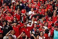 BOGOTA - COLOMBIA, 12-01-2019: Hinchas del America, animan a su equipo, durante partido entre Santa Fé y America de Cali, por el Torneo Fox Sports 2019, jugado en el estadio Nemesio Camacho El Campin de la ciudad de Bogotá. / Fans of America, cheer for their team during a match between Santa Fé y America de Cali, for the Fox Sports Tournament 2019, played at the Nemesio Camacho El Campin stadium in the city of Bogota. Photo: VizzorImage / Diego Cuevas / Cont.