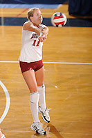 20 November 2008:  Denver outside hitter Jordan Raines (11) returns the ball during the WKU 3-0 victory over Denver in the first round of the Sun Belt Conference Championship tournament at FIU Stadium in Miami, Florida.