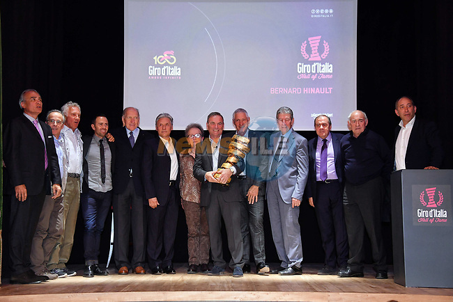 Bernard Hinault is inducted into the Giro d'Italia Hall of Fame 2017. The French champion receives his entry with his three successes in 1980, 1982 and 1985. Teatro Gerolamo, Milan, Italy. 28th March 2017.<br /> Picture: RCS Media | Cyclefile<br /> <br /> <br /> All photos usage must carry mandatory copyright credit (© Cyclefile | RCS Media)