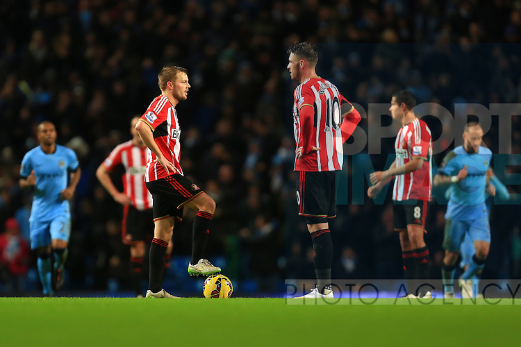 Sunderland are left dejected following Manchester City's second goal - Manchester City vs. Sunderland - Barclay's Premier League - Etihad Stadium - Manchester - 28/12/2014 Pic Philip Oldham/Sportimage