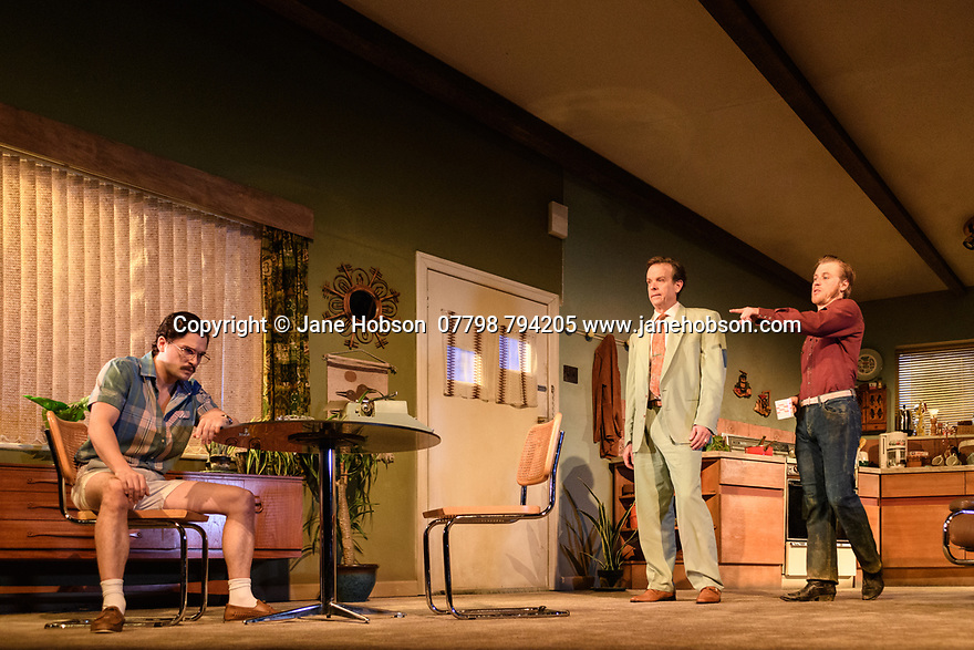 """The first UK production, since the death of playwright Sam Shepard's play """"True West"""", opens at the Vaudeville Theatre, directed by Matthew Dunster. Kit Harington and Johnny Flynn star, as brothers Austin and Lee, with Madeleine Potter and Donald Sage Mackay completing the cast. Picture shows: Kit Harington (Austin), Donald Sage Mackay (Saul Kimmer) and Johnny Flynn (Lee)."""
