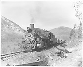 Pilot end fireman side angle view of K-36 #480 with a load of cross ties on the Monarch branch.<br /> D&amp;RGW  Monarch Branch, CO