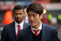 Lee Chung-Yong of Crystal Palace arrives before the Barclays Premier League match between Swansea City and Crystal Palace at the Liberty Stadium, Swansea on February 06 2016