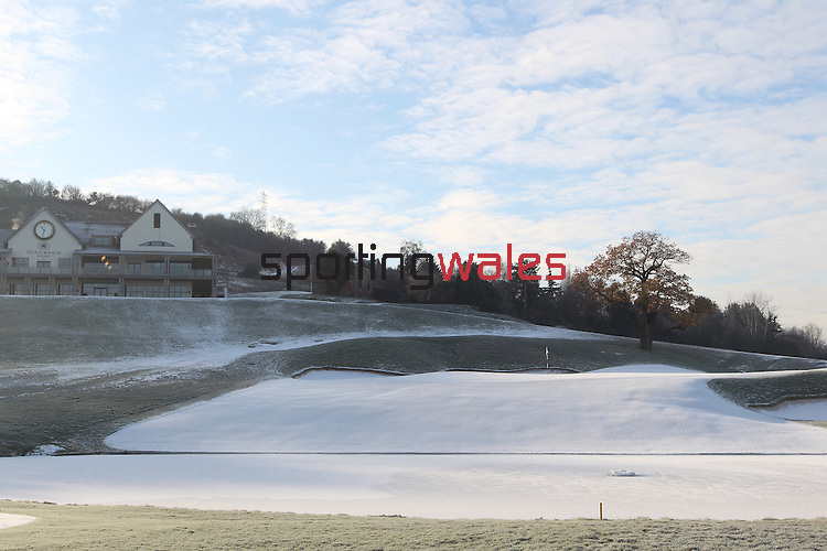 The 18th green on 2010 Golf Course at the Celtic Manor covered in ice and snow.03.12.10.©Steve Pope