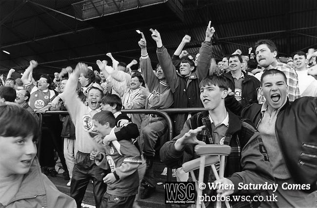 Fans celebrating Paul Wilkinson's equaliser, Boro v Everton, April 10th 1993. Final score Boro 1, Everton 2. Photo by Paul Thompson