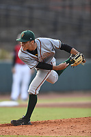 Greensboro Grasshoppers Starting Pitcher Alex Manasa (28) follows through on a pitch during a game with the Hickory Crawdads at L.P. Frans Stadium on May 27, 2019 in Hickory, North Carolina.  The Grasshoppers defeated the Crawdads 8-2. (Tracy Proffitt/Four Seam Images)