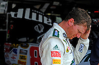 May 31, 2008; Dover, DE, USA; Nascar Sprint Cup Series driver Dale Earnhardt Jr during practice for the Best Buy 400 at the Dover International Speedway. Mandatory Credit: Mark J. Rebilas-US PRESSWIRE