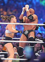 NEW ORLEANS, LA - APRIL 8: Ronda Rousey and Triple H at WWE Wrestlemania 34 at the Mercedes-Benz Superdome in New Orleans, Louisiana on April 8, 2018. <br /> CAP/MPI/GN<br /> &copy;GN/MPI/Capital Pictures
