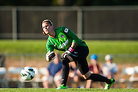 Washington Spirit goalkeeper Ashlyn Harris (1). Sky Blue FC defeated the Washington Spirit 1-0 during a National Women's Soccer League (NWSL) match at Yurcak Field in Piscataway, NJ, on July 6, 2013.
