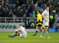 Twickenham, GREAT BRITAIN, two Cambridge players after the final whistle the  2012 Varsity Rugby match.  Oxford vs Cambridge, at the RFU Stadium, Twickenham, Surrey. on Thursday  06/12/2012...[Mandatory Credit; Peter Spurrier/Intersport-images]