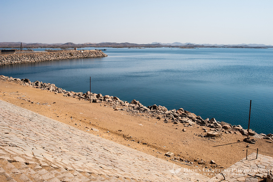 Egypt. The Aswan Dam is an embankment dam situated across the Nile River. Lake Nasser.