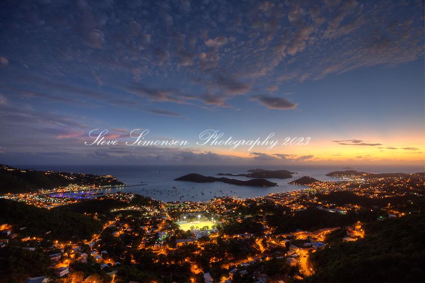 Night time Charlotte Amalie<br /> St. Thomas<br /> US Virgin Islands