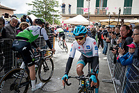 Maglia Bianca / best young rider Miguel Angel Lopez (COL/Astana) at the race start in Vinci (where the famous Leonardo is actually from... )<br /> <br /> Stage 3: Vinci to Orbetello (219km)<br /> 102nd Giro d'Italia 2019<br /> <br /> ©kramon
