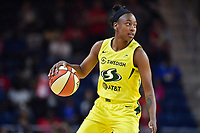 Washington, DC - June 14, 2019: Seattle Storm forward Natasha Howard (6) handles the ball during game between Seattle Storm and Washington Mystics at the St. Elizabeths East Entertainment and Sports Arena in Washington, DC. The Storm hold on to defeat the Mystics 74-71. (Photo by Phil Peters/Media Images International)