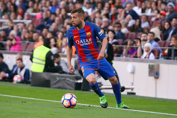 League Santander 2016/2017. Game: 36.<br /> FC Barcelona vs Villarreal CF: 4-1.<br /> Jordi Alba.