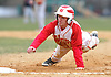 Half Hollow Hills West 2B No. 10 Tyler Delucia dives back safely into first base during a Suffolk County League IV varsity baseball game against Newfield at Half Hollow Hills West High School on Wednesday, April 8, 2015. Newfield won by a score of 10-5.<br /> <br /> James Escher
