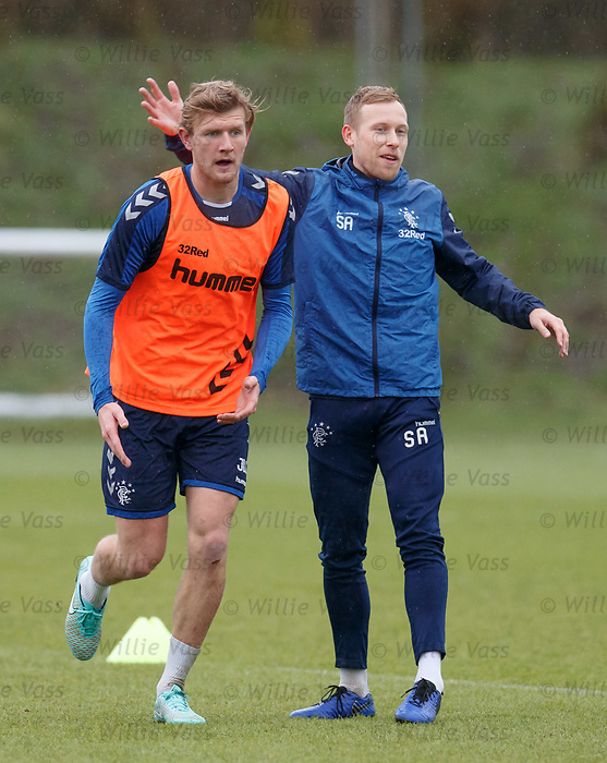 05.02.2019: Rangers training: Joe Worrall and Scott Arfield
