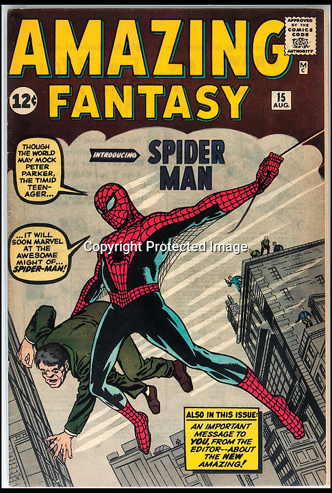 BNPS.co.uk (01202 558833)<br /> Pic: Heritage/BNPS<br /> <br /> ***Please use full byline***<br /> <br /> The pristine copy of the comic book that introduced Spiderman, issue number 15 of the Amazing Fantasy series which is expected to sell for around &pound;92,000.<br /> <br /> The original artwork for one of the first comics to ever feature Superman has come to light and is expected to sell for more than &pound;120,000 at Heritage Auctions in Dallas.<br /> <br /> The image was sketched by Fred Guardineer for issue 15 of the Action Comics series, published in August 1939.<br /> <br /> The books featured a range of characters including magicians, escape artists, and detectives, which were all rotated on the front covers.<br /> <br /> Once the illustrations had been sent to the printers they were simply discarded but Fred specifically asked the company if he could this one for his portfolio.