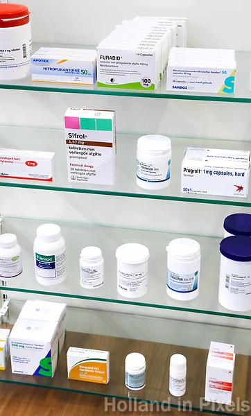 Nederland - Amsterdam -  Maart 2019. Medicijnen in een apotheek.   Foto Berlinda van Dam / Hollandse Hoogte