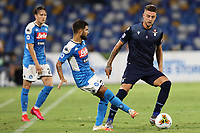 Lorenzo Insigne of SSC Napoli and Sergej Milinkovic Savic of SS Lazio compete for the ball<br /> during the Serie A football match between SSC  Napoli and SS Lazio at stadio San Paolo in Naples ( Italy ), August 01st, 2020. Play resumes behind closed doors following the outbreak of the coronavirus disease. <br /> Photo Cesare Purini / Insidefoto