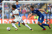 9th September 2017, King Power Stadium, Leicester, England; EPL Premier League Football, Leicester City versus Chelsea; Willian of Chelsea toys to find an an ole to cross the ball