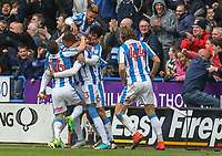 Huddersfield Town's Collin Quaner celebrates with teammates after winning the game with a late strike<br /> <br /> Photographer Alex Dodd/CameraSport<br /> <br /> The EFL Sky Bet Championship - Huddersfield Town v Preston North End - Friday 14th April 2016 - The John Smith's Stadium - Huddersfield<br /> <br /> World Copyright &copy; 2017 CameraSport. All rights reserved. 43 Linden Ave. Countesthorpe. Leicester. England. LE8 5PG - Tel: +44 (0) 116 277 4147 - admin@camerasport.com - www.camerasport.com