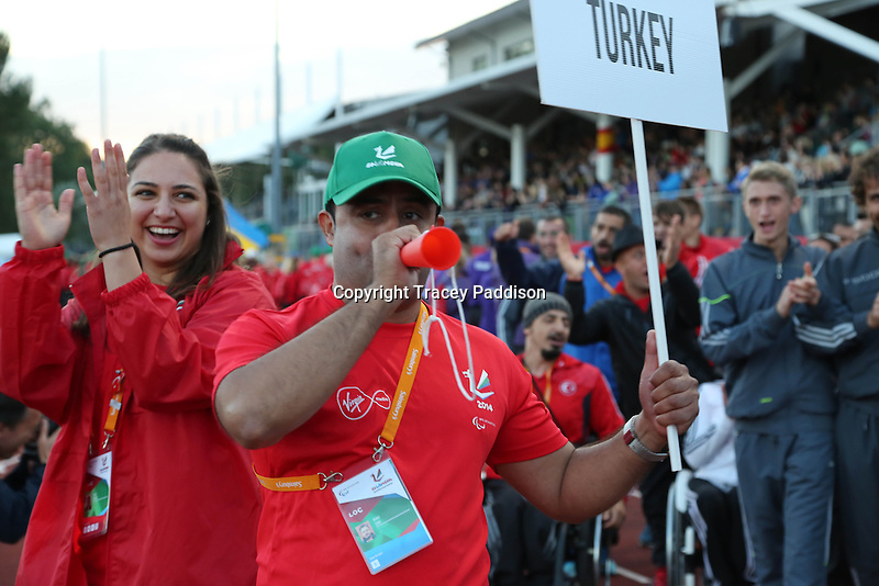 Monday August 18, 2014 <br /> Picture: Turkey Para-Athletes<br /> RE: Para-athletes from Turkey taking part in the opening ceremony of the 2014 IPC Athletics European Championships in Swansea University Sports Village.