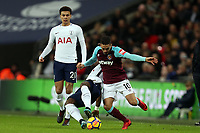 Manuel Lanzini of West Ham United and Serge Aurier of Tottenham during Tottenham Hotspur vs West Ham United, Premier League Football at Wembley Stadium on 4th January 2018
