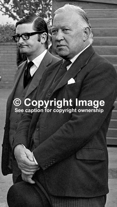 Patrick Markey, QC, left, and Sir Robert Porter, QC, attendees at St Brigid's Roman Catholic Church, Belfast, for the funeral mass of their legal colleague, Judge Rory Conaghan, who was murdered by the Provisional IRA. Both Markey and Porter went on the become judges. Porter was also an Ulster Unionist politician and minister who later switched to the more moderate, Alliance Party of N Ireland. 197409160494b..Copyright Image from Victor Patterson, 54 Dorchester Park, Belfast, UK, BT9 6RJ..Tel: +44 28 9066 1296.Mob: +44 7802 353836.Voicemail +44 20 8816 7153.Skype: victorpattersonbelfast.Email: victorpatterson@mac.com.Email: victorpatterson@ireland.com (back-up)..IMPORTANT: If you wish to use this image or any other of my images please go to www.victorpatterson.com and click on the Terms & Conditions. Then contact me by email or phone with the reference number(s) of the image(s) concerned.