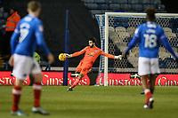 Blackburn Rovers' goalkeeper David Raya kicks clear <br /> <br /> Photographer Andrew Kearns/CameraSport<br /> <br /> The EFL Sky Bet League One - Portsmouth v Blackburn Rovers - Tuesday 13th February 2018 - Fratton Park - Portsmouth<br /> <br /> World Copyright &copy; 2018 CameraSport. All rights reserved. 43 Linden Ave. Countesthorpe. Leicester. England. LE8 5PG - Tel: +44 (0) 116 277 4147 - admin@camerasport.com - www.camerasport.com