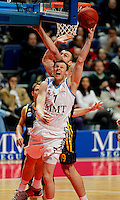Real Madrid's Martynas Pocius  and Alba Berlin's  Albert Miralles during Euroleague 2012/2013 match.February 22,2013. (ALTERPHOTOS/Javier Lopez) /NortePhoto