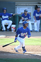 Willie Calhoun (36) of the Rancho Cucamonga Quakes bats during a game against the San Jose Giants at LoanMart Field on August 30, 2015 in Rancho Cucamonga, California. Rancho Cucamonga defeated San Jose 8-3. (Larry Goren/Four Seam Images)