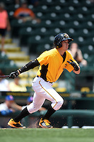 Bradenton Marauders outfielder Michael Fransoso (3) at bat during a game against the St. Lucie Mets on April 12, 2015 at McKechnie Field in Bradenton, Florida.  Bradenton defeated St. Lucie 7-5.  (Mike Janes/Four Seam Images)