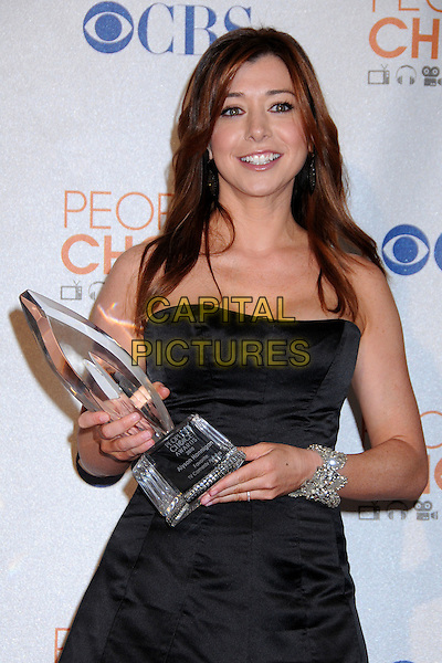 ALYSON HANNIGAN.Pressroom at the 36th Annual People's Choice Awards held at the Nokia Theatre LA Live, Los Angeles, California, USA..January 6th, 2009.press room award trophy black dress half length bracelet  silver strapless.CAP/ADM/BP.©Byron Purvis/AdMedia/Capital Pictures.
