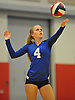 Shelter Island No. 4 Serina Kaasik serves during the Suffolk County varsity girls' volleyball Class D final against Pierson at Suffolk Community College Grant Campus on Monday, November 9, 2015. Shelter Island won 25-9, 25-4, 25-13.